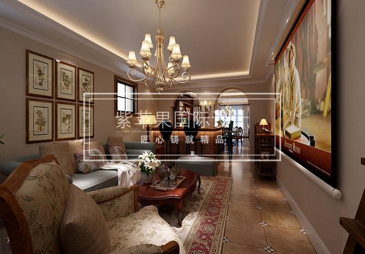 客厅采用欧式风格,粗犷豪放的线条