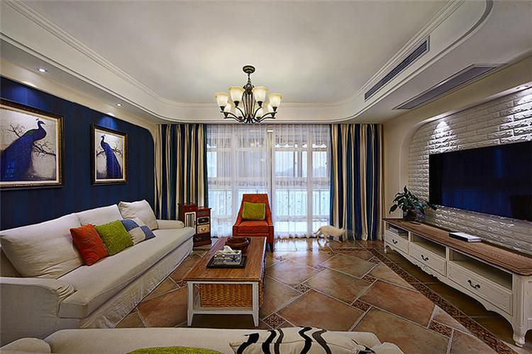 美式客厅装修效果图-紫苹果国际设计