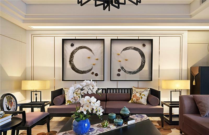 上海180平新中式风格大平层装修设计实景鉴赏图片