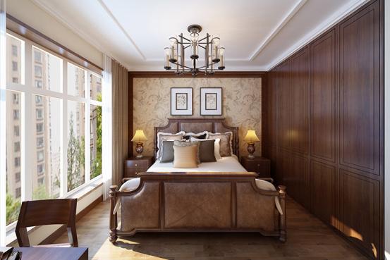 对称式的设计提升空间优雅的气质,无论是窗帘,抑或是床品和壁纸,都像